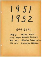 University of Cincinnati Hillel Foundation Archive Documents 1951-1952