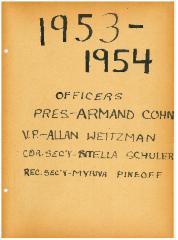 University of Cincinnati Hillel Foundation Archive Documents 1953-1954