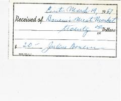 New Hope Congregation Burial Society Receipt - Bonem's Meat Market - 1967