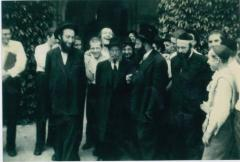 Rabbi Eliezer Silver with Yeshiva Boys likely in Camp Agudah 1957