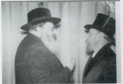 Rabbi Yitzchak Hutner (RY Chaim Berlin) speaking with Rabbi Silver