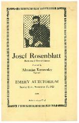 Musical Program for Josef Rosenblatt accompanied by Abracha Konevsky, Concert at Emery Auditorium Program, November 18, 1923, Cincinnati, Ohio