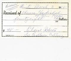 New Hope Congregation Burial Society Receipt - Goldson Catering - 1968