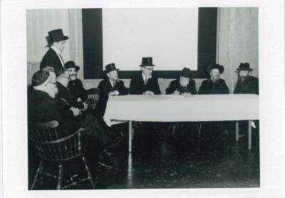 Rabbi silver seated with Rabbi Yoshev Ber Solevetzik