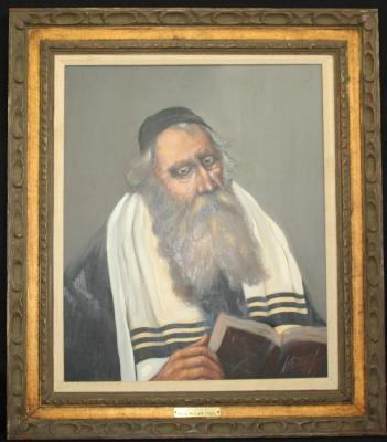 Painting of a Rabbi by Louis Speigel. Part of the Golf Manor collection. Donated to Golf Manor by Mr. and Mrs. WM. Fogel