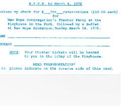 New Hope Congregation - Theater Party RSVP - 1976
