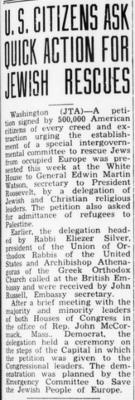 """Jewish Floridian, """"U.S. Citizens Ask Qucik Action for Jewish Rescues,"""" article from 9/8/1944"""