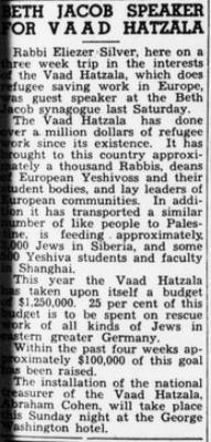 "Jewish Floridian, ""Beth Jacob Speaker for Vaad Hatzala,"" article from 1/28/1944"