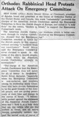 """Southern Israelite, """"Orthodox Rabbinical Head Protests Attack on Emergency Committee,"""" article from 1/14/1944"""