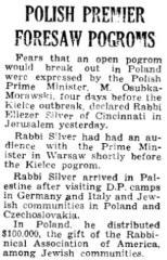 Polish Premier Foresaw Kielce Pogram 9.2.1946