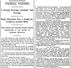 "Cincinnati Enquirer, Article Entitled ""Weirdly Wedded,"" from 7/15/1889 Regarding a Russian Jewish Wedding in Cincinnati"