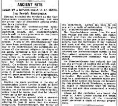 Newspaper Article Regarding a Dispute in Carlisie Avenue Synagogue [Beth Tefillah] regarding aliya for bar mitzvah boy February 8,1904