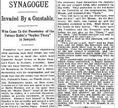 "Article Regarding Newport Kentucky ""Synagogue Invaded By a Constable"" in 1899"