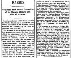Article Regarding the Mizrachi Convention Held in Cincinnati -  4.26.1914