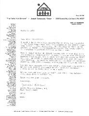 New Hope Congregation - Letter to Rabbi Rabenstein from the Cincinnati Jewish Community Center regarding its 0.A.S.S.S (Older Adult Supportive Services) program - 1981