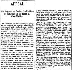 Article Regarding 1914 Cincinnati Appeal for Support of Jewish Institutions in Palestine