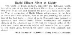 "Every Friday, ""Rabbi Eliezer Silver at Eighty,"" article from 2/12/1960"