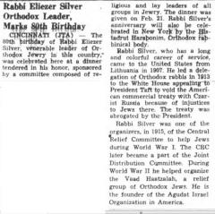 """Southern Israelite, """"Rabbi Eliezer Silver Orthodox Leader, Marks 80th Birthday"""" article from 2/24/1961"""