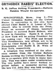 Articles Regarding Election of Rabbi Lesser as Honorary President of the Agudas HaRabonim from August 1905