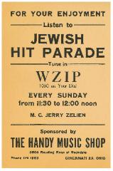 Poster for the Cincinnati Jewish Hit Parade Radio Program