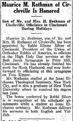 Article Regarding Rabbi Eliezer Silver Appointing Maurice M. Rothman to Officiate the 1932 High Holidays at Beth Jacob Synagogue in Cincinnati, Ohio