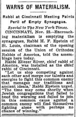 Rabbi Chaim Fishel Epstein Warns of Materialism at 1931 Installation of Rabbi Eliezer Silver as Chief Rabbi of Cincinnati