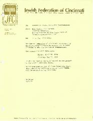 Letter from Jewish Federation of Cincinnati, Israel 30th Anniversary Celebration - 1978