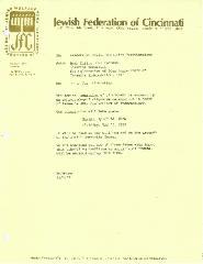 Letter from Jewish Federation of Cincinnati, Israel 30th Anniversary Celebration - 1978
