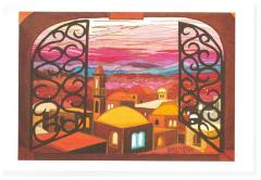 Card depicting sunset skyline