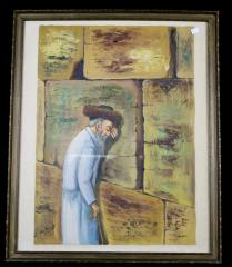 Painting of Man at the Western Wall, by H. Jaacoby