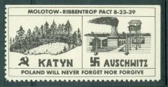 "Polish Stamp / Label ""Poland Will Never Forget Nor Forgive"" - Katyn & Auschwitz"