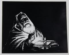 Print of a Man Reading by Candle Light by Heistoff
