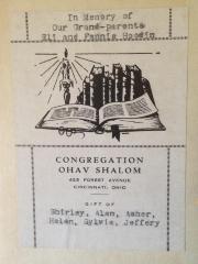 Bookplates from Congregation Ohav Shalom, Cincinnati, Ohio