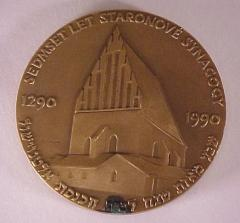 The Altneuschul (the Old-New Synagogue) of Prague 700th Anniversary Medal