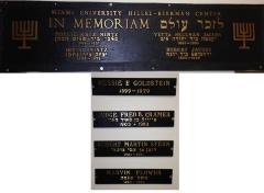 Memorial Plaque at Miami University Hillel - Beerman Center