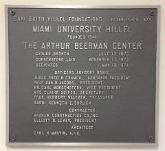 Dedication Plaque for Building (Arthur Beerman Center) at Miami University Hillel