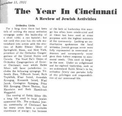 Article Regarding 1931 Election of Rabbi Eliezer Silver as Chief Rabbi of Cincinnati