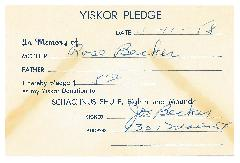 Beth Tefyla Congregation [Cincinnati, Ohio] Yiskor Pledge Cards from 1958
