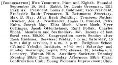 Bio of Congregation Bene Yeshurun (Cincinnati, Ohio) from the American Jewish Year Book 1900 – 1901, 5661