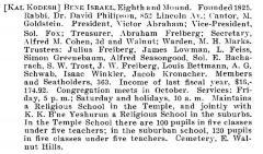 Bio of Congregation Bene Israel (Cincinnati, Ohio) from the American Jewish Year Book 1900 – 1901, 5661 (