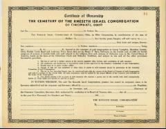 Certificate of Ownership for the Cemetery of the Kneseth Israel Congregation of Cincinnati, Ohio