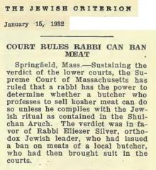 "Article Regarding Rabbi Eliezer Silver Winning a Court Battle Allowing Him to Ban the Term ""Kosher"" for Meat Not Prepared in Accordance With Jewish Law - January 15, 1932"