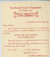 Holiday Seating Notice for the Kneseth Israel Congregation (Cincinnati, Ohio) - 1922
