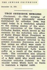 Articles Regarding the Agudas HaRabonim 1931 Semi-Annual Convention Held in Cincinnati, Ohio