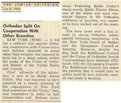 Article Regarding Split in Orthodox Leadership Over Cooperation with the Reform and Conservative Movements - June 3, 1960 - The Jewish Criterion