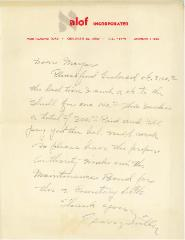 Letter from Alof Incorporated Regarding Cemetery Lots at the Kneseth Israel Congregation Cemetery (Cincinnati, Ohio)