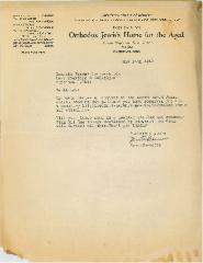 Letter from the Orthodox Jewish Home for the Aged (Cincinnati, Ohio) Regarding Cemetery Plot at Kneseth Israel Cemetery - 1942