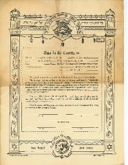 Printed Form of a Ketubah (Jewish Marriage / Wedding Contract) from 1928