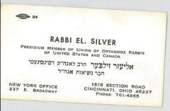 Rabbi Eliezer Silver Business Card