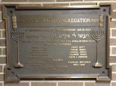 Photograph of 1924 Centennial Plaque for Bene Israel Congregation (Rockdale Temple), Cincinnati, Ohio